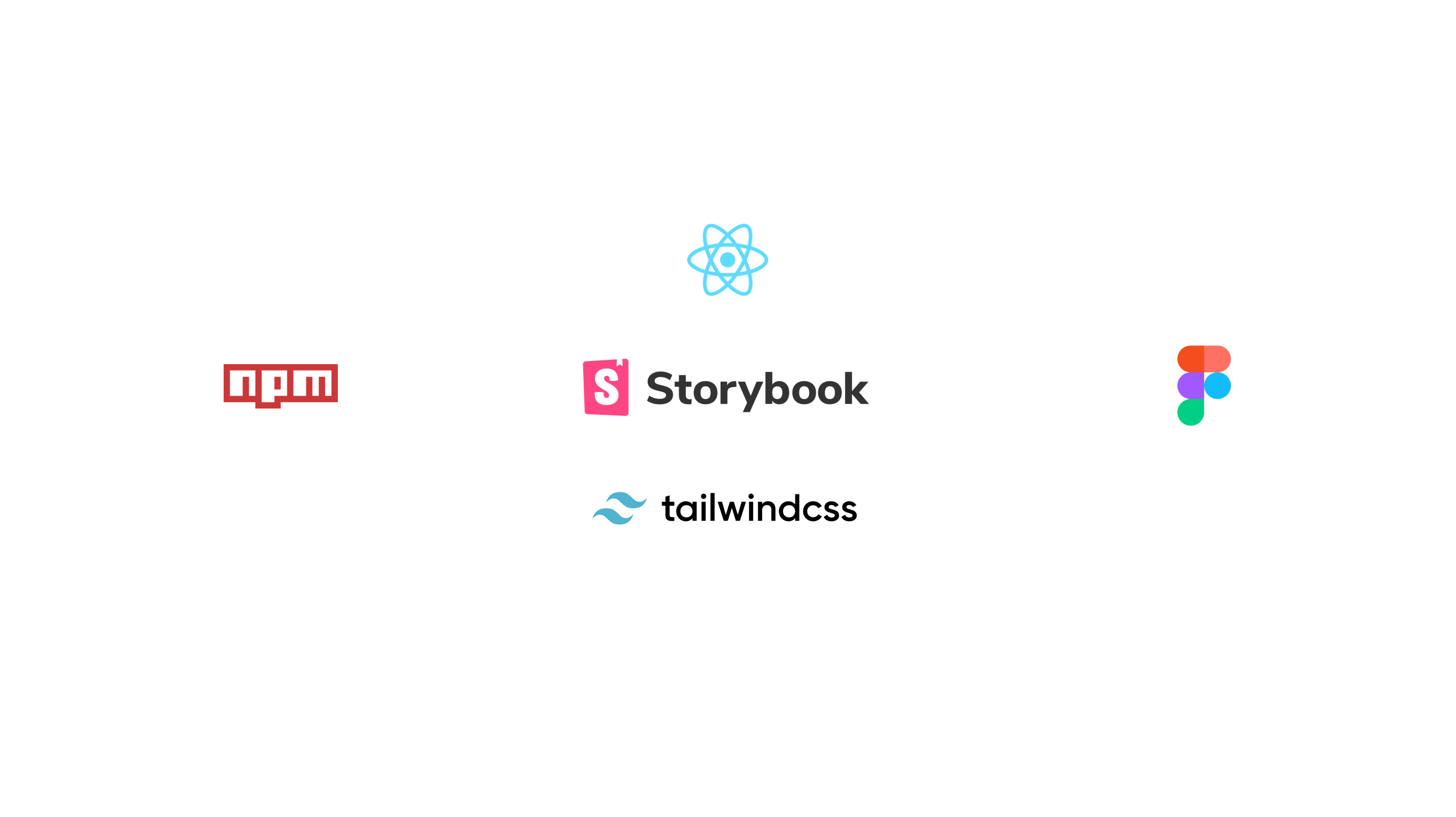 Photo of company logos (npm, storybook, react, tailwindcss, figma)